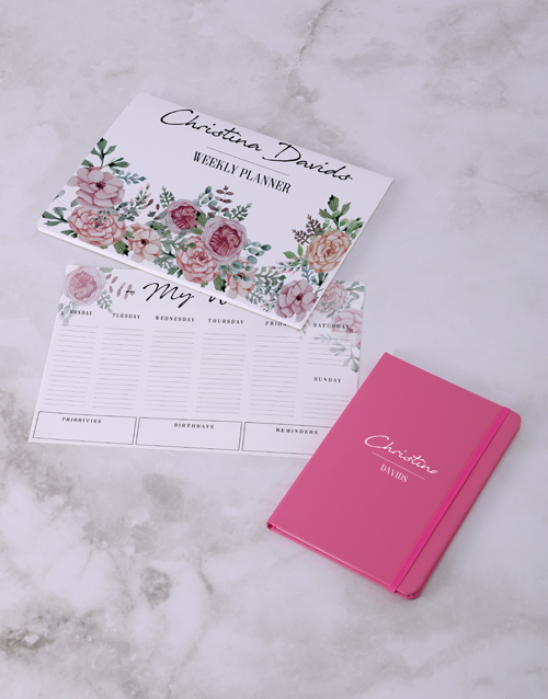 mothers-day: Personalised Feminine Floral Desk Stationery Set!