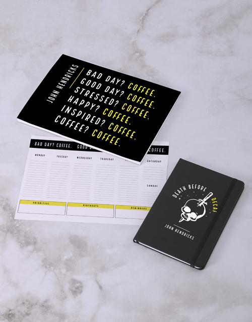 personalised: Personalised Coffee Addict Desk Stationery Set!