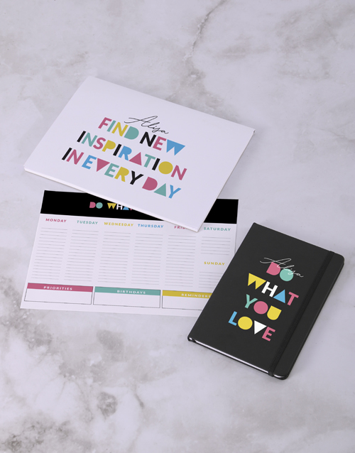 christmas: Personalised Do What You Love Desk Stationery Set!