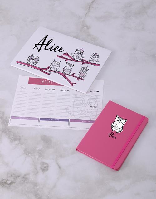 personalised: Personalised Cute Owl Desk Stationery Set!