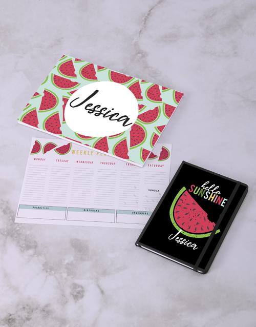 personalised: Personalised Sweet Watermelon Desk Stationery Set!