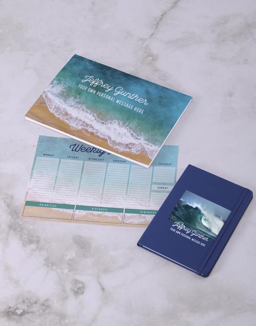 personalised: Personalised Blue Waves Desk Stationery Set!