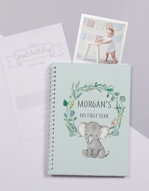 personalised: Personalised Elephant Babys First Year Journal!