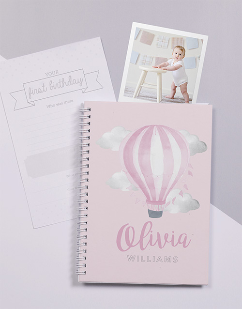 gifts: Personalised Balloon Babys First Year Journal!