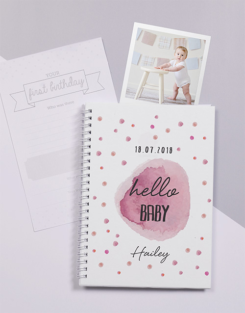 personalised: Personalised Pink Polka Dot Baby Journal!