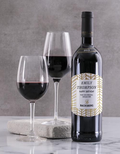 fine-alcohol: Personalised Golden Backsberg Wine!