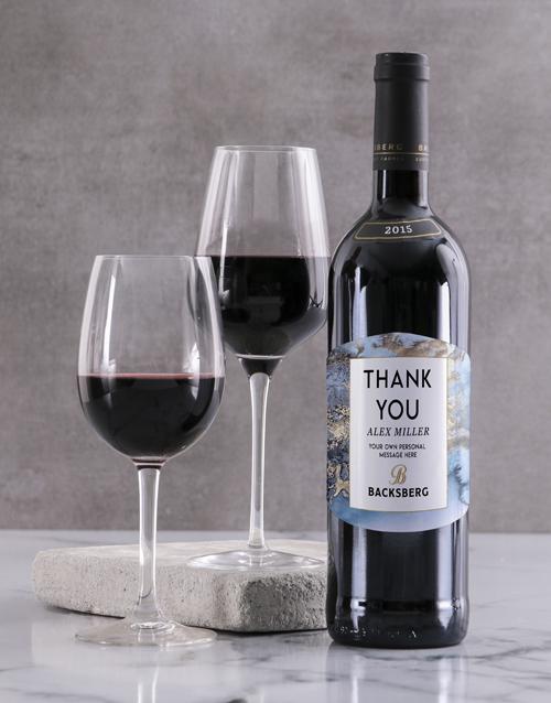 fine-alcohol: Personalised Marble Backsberg Wine!