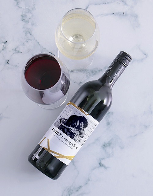 personalised: Personalised Golden Wishes Photo Wine!