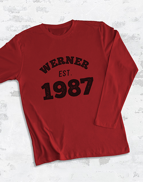 fathers-day: Personalised Est Year Long Sleeve T Shirt!