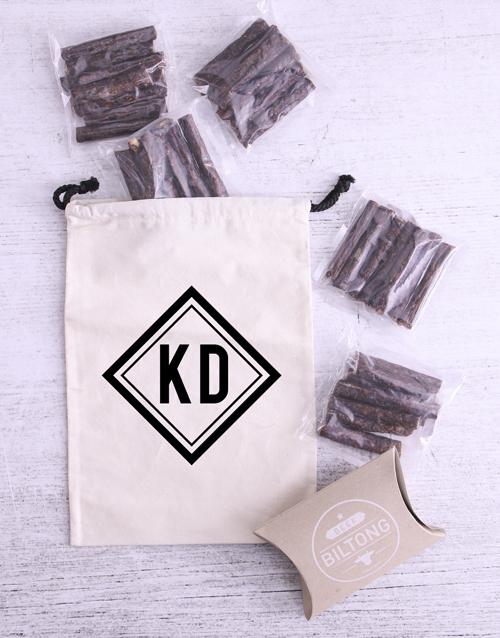 christmas: Personalised Monochrome Initial Biltong Bag!