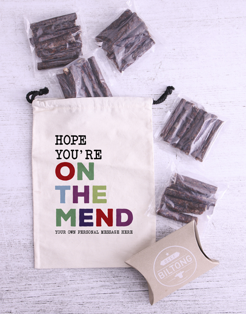 get-well: Personalised On The Mend Biltong Bag!