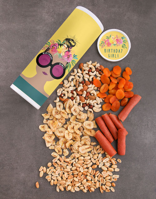 birthday: Personalised Birthday Girl Fruit And Nuts Tube!