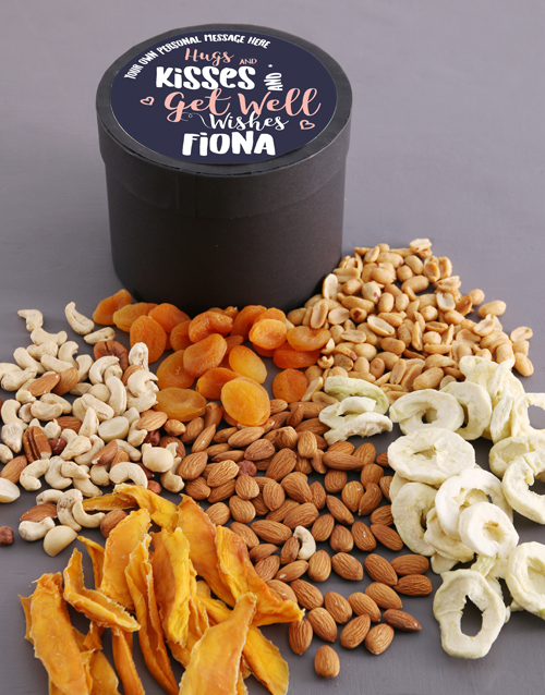 get-well: Personalised Hugs Fruit and Nut Hat Box!