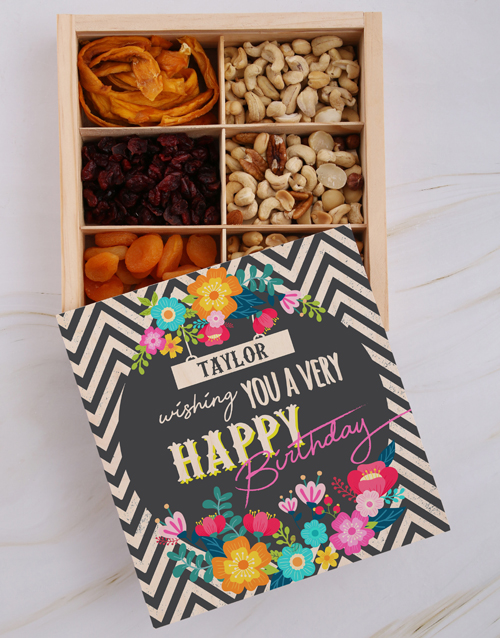 birthday: Personalised Birthday Floral Snack Crate!