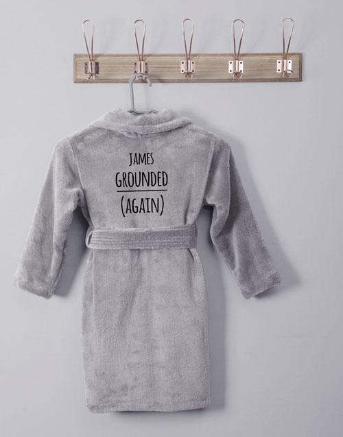 personalised: Personalised Own Words Grey Fleece Kids Gown!
