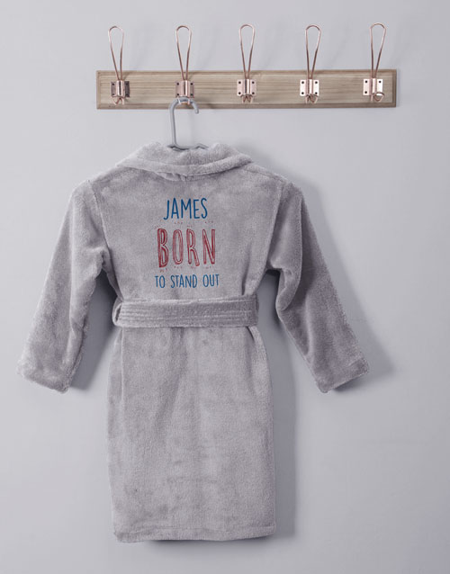 personalised: Personalised Stand Out Grey Fleece Kids Gown!
