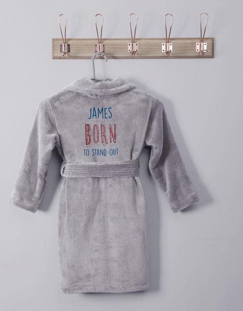 kids: Personalised Born To Grey Fleece Kids Gown!