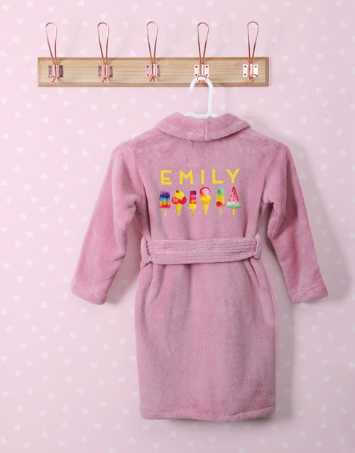 personalised: Personalised Ice Cream Pink Fleece Kids Gown!