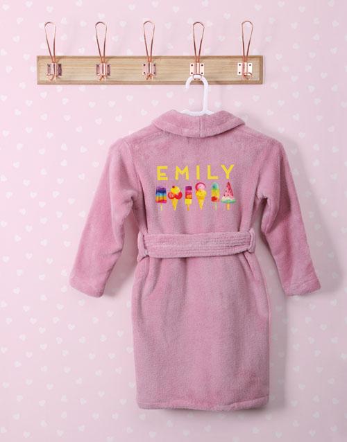 personalised: Personalised I Scream Pink Fleece Kids Gown!