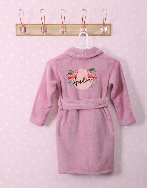 personalised: Personalised Flamingo Pink Fleece Kids Gown!