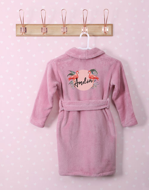 personalised: Personalised Fabulous Flamingo Pink Fleece Gown!