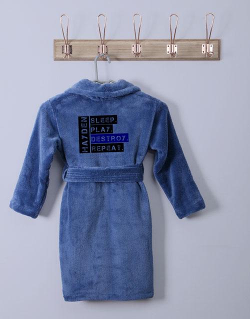personalised: Personalised Friendly Warning Blue Fleece Gown!