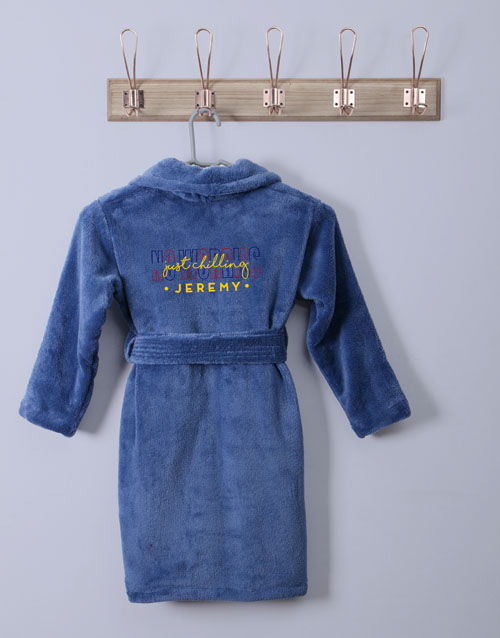 personalised: Personalised Just Chilling Blue Fleece Kids Gown!