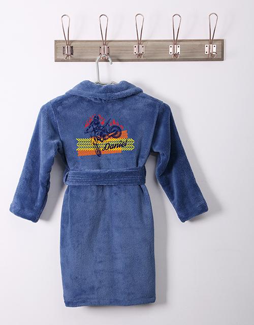 personalised: Personalised Blazing Wheels Blue Fleece Kids Gown!