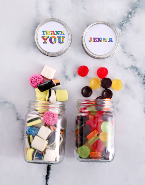 chocolate: Personalised Thank You Mini Sweets Jars!