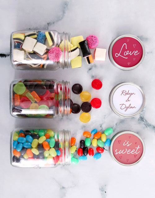 valentines-day: Personalised Mini Sweets Jars of Love!