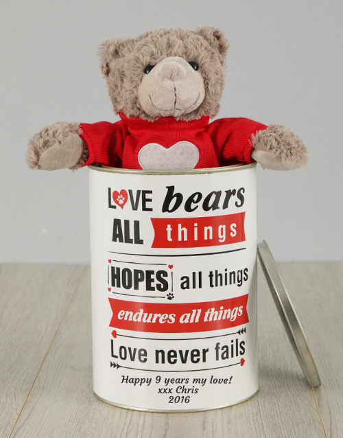 personalised: Personalised Valentines Love Bears All Things Tin!