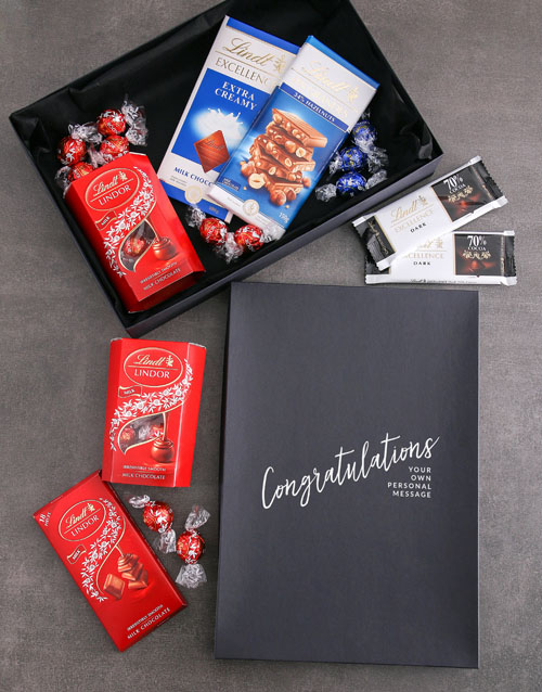 chocolate: Personalised Congrats Box Of Lindt Chocs!