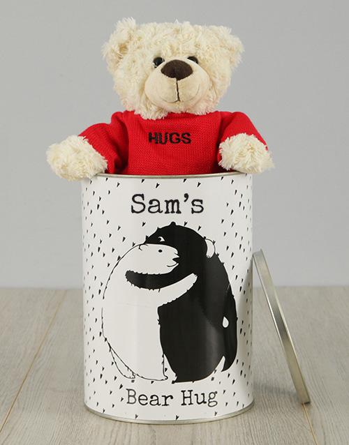 personalised: Personalised Bear Hug  Teddy Tin!