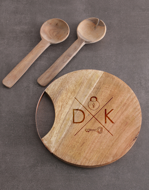christmas: Personalised Lock Key Round Chopping Board!