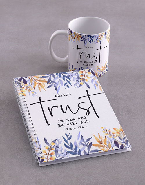 christmas: Personalised Trust in Him Mug And Notebook!