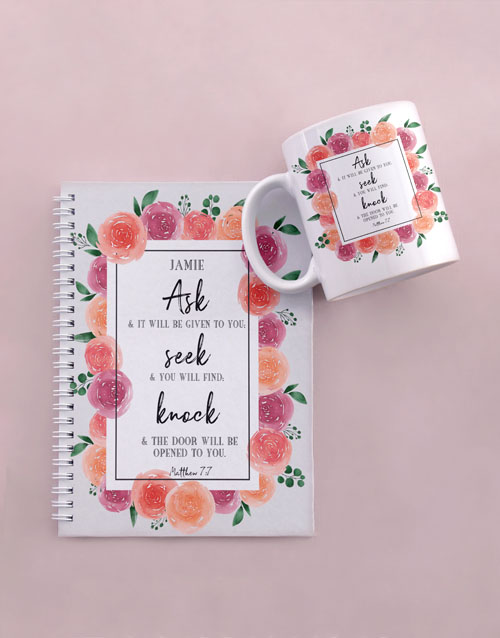 faith: Personalised Seek and Find Mug And Notebook!