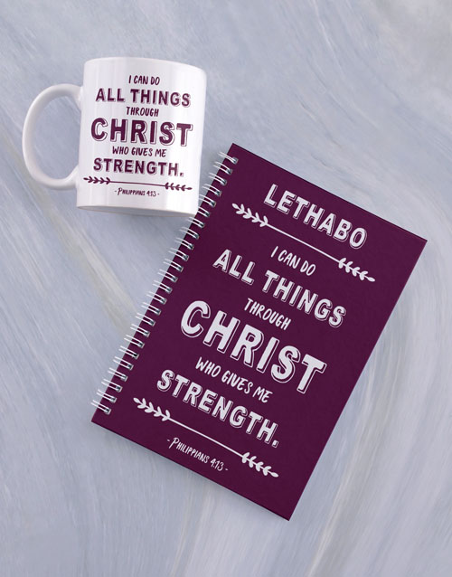 christmas: Personalised Strength in Christ Mug And Notebook!