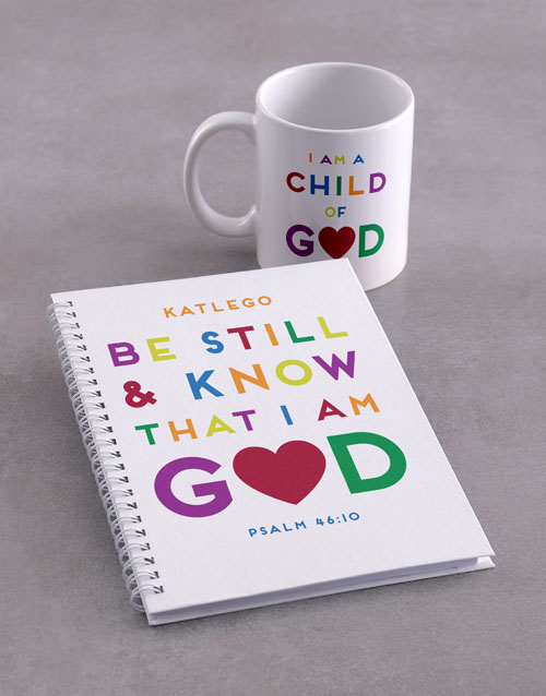 faith: Personalised Be Still Mug And Notebook!
