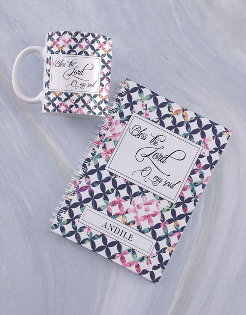 faith: Personalised Bless the Lord Mug And Notebook!
