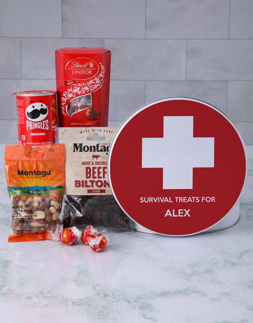 get-well: Personalised Survival Gourmet Tin!