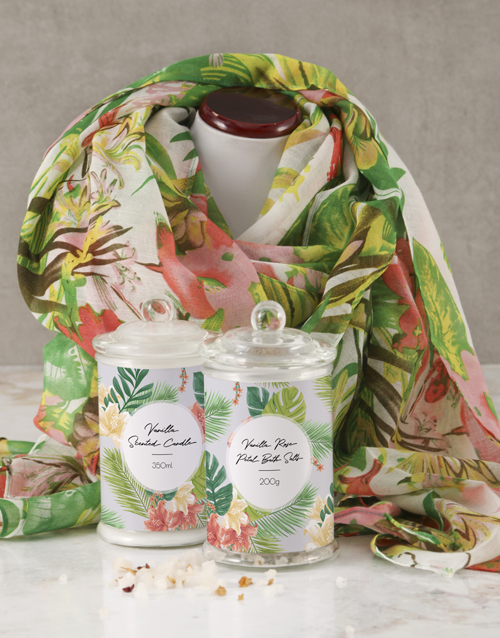 anniversary: Tropical Scarf And Pamper Set!