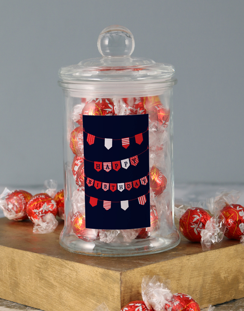 candy-jars: Red Birthday Banner Lindt Candy Jar!