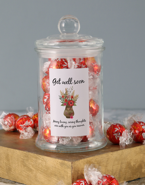 chocolate: Floral Get Well Soon Lindt Candy Jar!