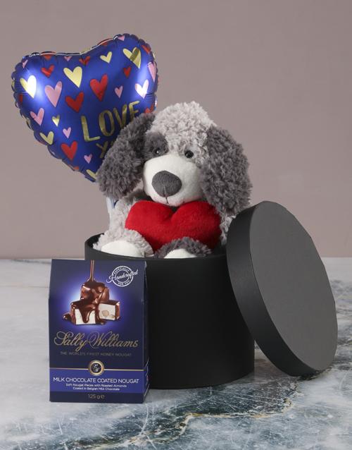 valentines-day: Puppy Love Chocolate Hatbox Hamper!