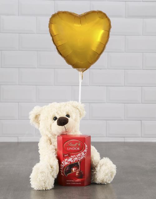 chocolate: Cream Teddy And Gold Balloon Hamper !