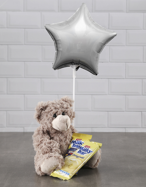 chocolate: Brown Teddy And Silver Star Balloon Hamper!