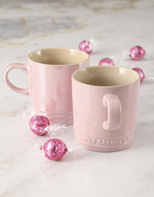 mothers-day: Pink Le Creuset Mugs and Chocolate!
