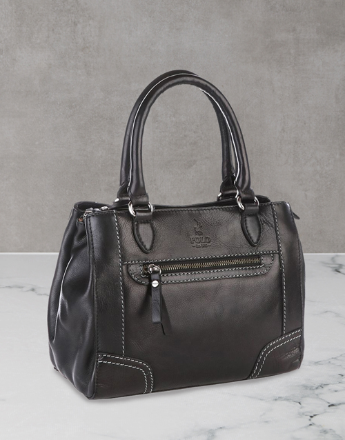 polo: Polo Andes Leather Black Shopper Set!