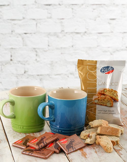 year-end: Le Creuset Coffee Mugs with Chocolates & Biscotti!
