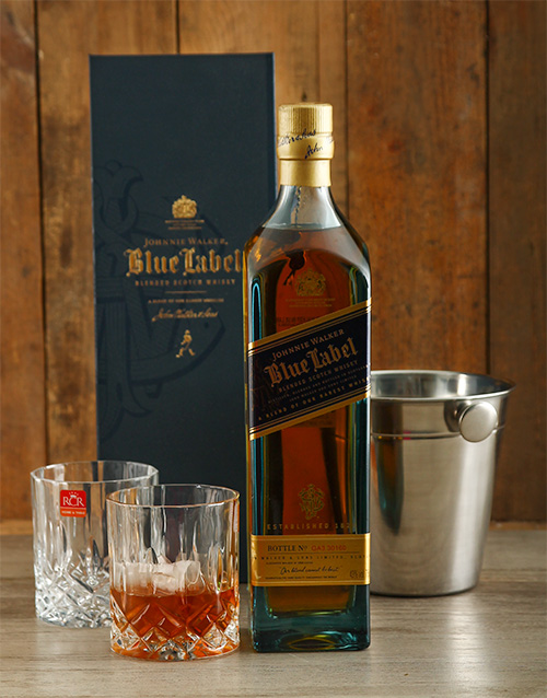 fine-alcohol: Johnnie Walker Blue Label with Ice Bucket and Crys!